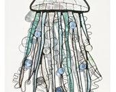 Stained Glass JELLYFISH Suncatcher - Iridescent Clears, Seafoam Green, Iridescent Ice Blue - USA Handmade Original
