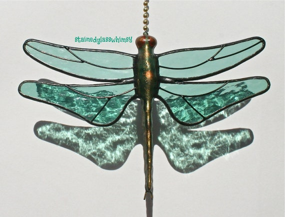 Stained Glass Dragonfly FAN PULL Suncatcher - Sage / Sea Foam Green - Proudly USA Handcrafted