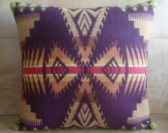 SALE Wool Pillow - Arrow Purple Native Geometric Tribal