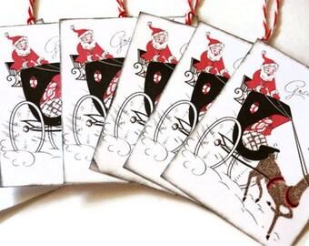 Vintage Style Christmas Gift Tags Retro Santa Horse Carriage Set of 6