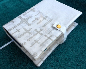 Bible book cover, case, purse, holder, cloth, fabric, silver crosses, church, religious gift, study, accessory, accessories