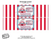 Circus Beverage Wrappers - Printable File