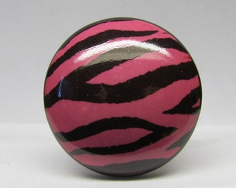 Pink Zebra Drawer Knob Wine Bottle Stopper