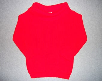Cute Vintage Elmo Red Sweater 60s 70s Hipster Turtleneck w/ Pockets Tacky Gaudy Ugly Christmas Party X-mas 1960s 1970s S Small M Medium
