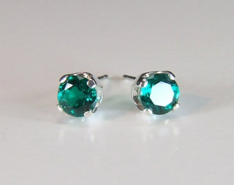 Hydrothermal Emerald Earrings (Synthetic), 5mm x 0.50 Carat, Round Cut, Sterling Silver Post Earrings