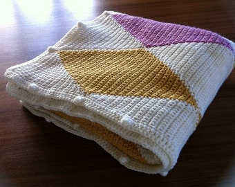 Crocheted gold and mauve Harlequin Afghan / Blanket