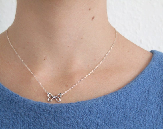SALE Butterfly Necklace. Oxidized Butterfly Sterling Silver Necklace. Delicate Dainty