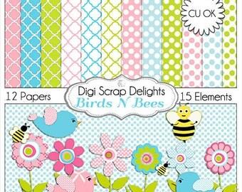 Birds 'n Bees  Digital Scrapbook Kit in Pink, Blue, Green w Quatrefoil 'n Polk Dot Papers