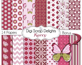 Butterfly Digital Papers Pink & Burgundy for Digital Scrapbook Paper for Scrapbooking, Card Making, Instant Download