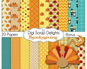 Thanksgiving Digital Papers w Turkey, Pilgrim, Pumpkin, for Digital Scrapbooking, Fall Cards, Crafts, Orange, Yellow, Teal Instant Download