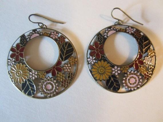 Vintage Enamel Flower Earrings - Dangle Pierced Hoops - Retro Hoop Drop Earrings - Womens Vintage Fashion Accessory
