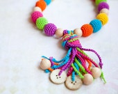 Fun Tassel Nursing Necklace - Teething Necklace with a coconut button -Baby Carrier