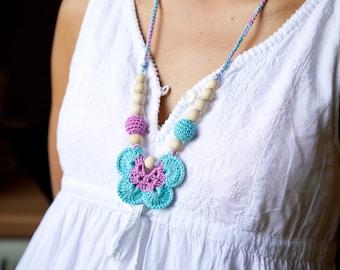 SALE - Crochet nursing necklace