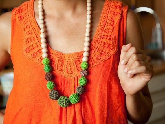 SALE - Nursing Breastfeeding necklace - teething toy -Babywearing - teething jewelry