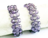 Beaded napkin rings - amethyst napkin ring - purple napkin rings - elegant napkin rings - woven napkin rings - serviette rings