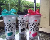 8 Bachelor/Bachelorette Party Favors--Personalized 16oz Clear Acrylic Tumbler Cups--DISCOUNTED PRICE