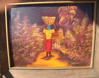 SALE- Andre Pierre Haitian Village Life Painting Original Oil on Masonite