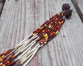 "Native American Inspired Design Seed Beads, Rose Beads, and Porcupine Quills Earrings - ""Indian Corn"""