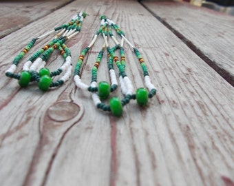 "Native American inspired design,  Czech glass seed bead earrings - ""Forrest Moon"""