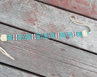 "Native American Inspired Design - Czech Glass Seed Bead Choker - ""Cheyenne Rain"" - Custom Made"