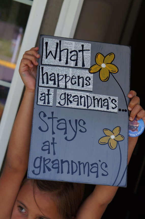what happens at grandmas stays at grandmas wood sign