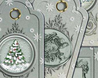 SALE 70% Digital printable Christmas Gift Tags Printable digital Christmas card tag gift wrap Gift Packaging ATC digital shabby chic