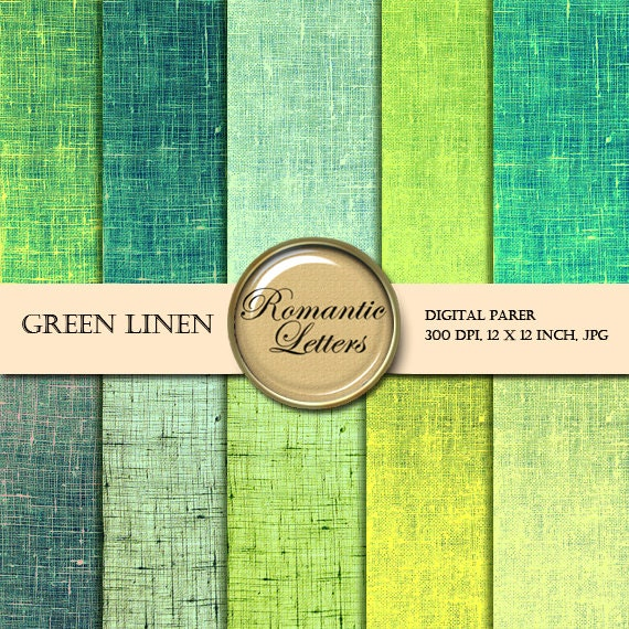 Green Linen digital paper pack digital scrapbook linen texture printable paper printable paper digital scrapbook background paper linen