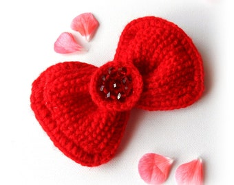 Crochet Brooch - Crochet Red Bow - Brooch Pin - Tie-  Hair Accessory
