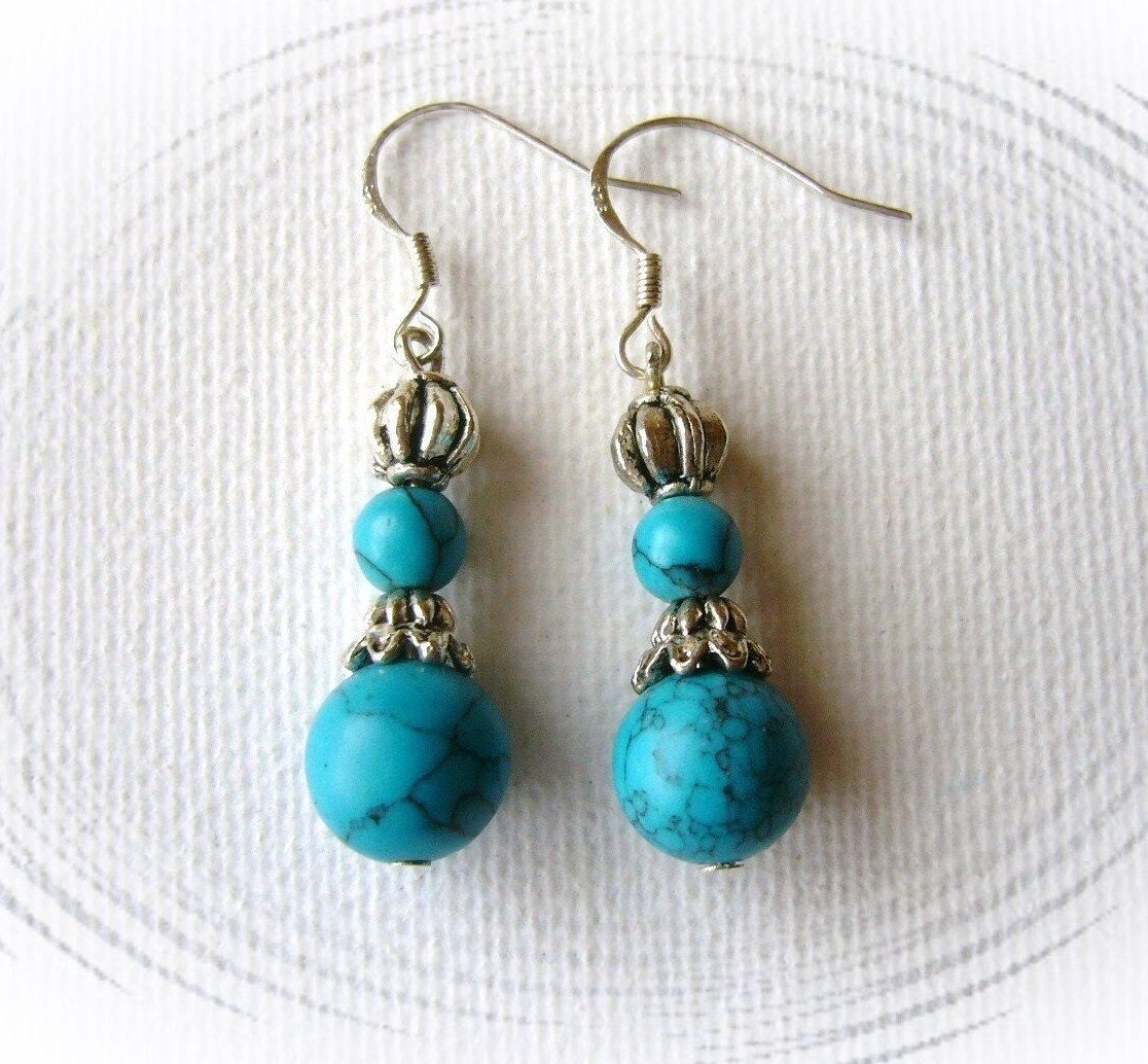 turquoise dangling earrings handmade fashion jewelry. Black Bedroom Furniture Sets. Home Design Ideas