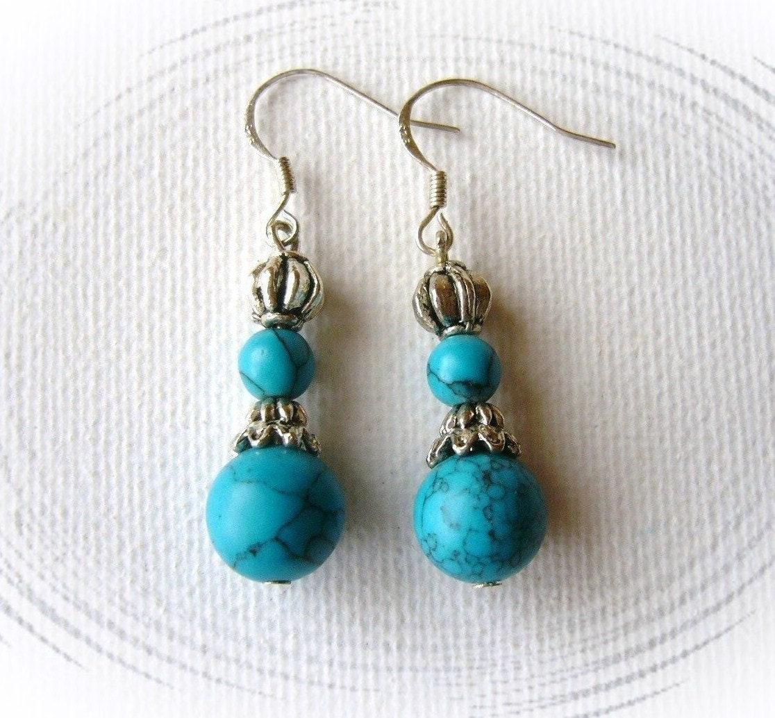 Turquoise dangling earrings handmade fashion jewelry for Turquoise colored fashion jewelry