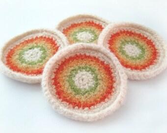 Retro Wool Coasters - set of 4 - Orange, Gold, Yellow, Lime, Ivory - felted crochet
