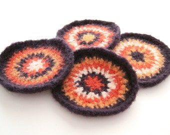 Retro Wool Coasters - set of 4 - Purple, Orange, Gold, White - felted crochet