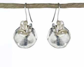 Kalfula. Moon Flower Earrings in Silver and Pearl. Greek Sterling Silver and Ceramic Disks with Keshi Pearls. EX.