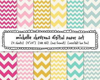 chevron digital paper, digital photography backgrounds zig zag stripe, girls patterns pink magenta mustard yellow aqua baby blue - 379
