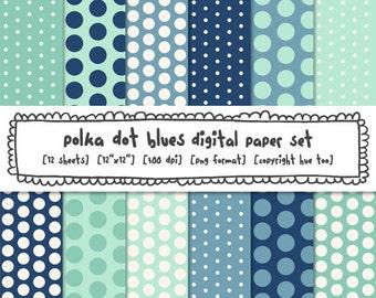 blue polka dots digital paper set, navy aqua turquoise baby blue, polka dot digital photography backgrounds, card making invitations 385