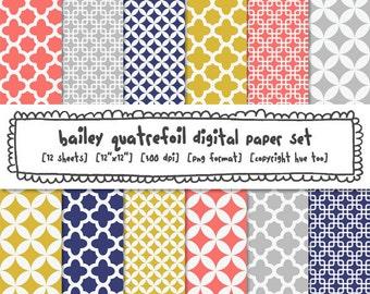digital paper quatrefoil patterns, mustard yellow gray pink navy blue, modern photography backgrounds, mod preppy classic patterns  400