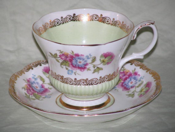 RESERVED For Meredith Royal Albert Teacup and Saucer Vintage Gold Mint Green Pink Blue Yellow Flowers China Porcelain