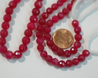 Hot Pink Chalcedony Rounds Beads Faceted