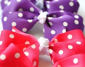 Set of 3 Polka Dot Pigtails Pink Purple and Blue
