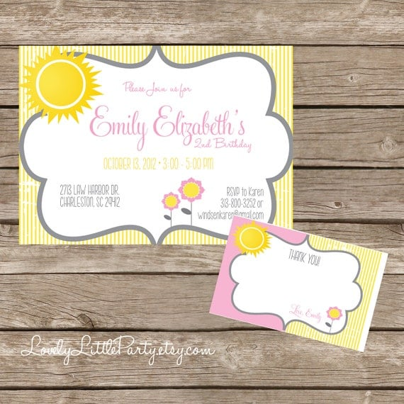 DIY Printable Sunshine & Flowers Birthday Invitation Kit - Invite AND Thank You Card included