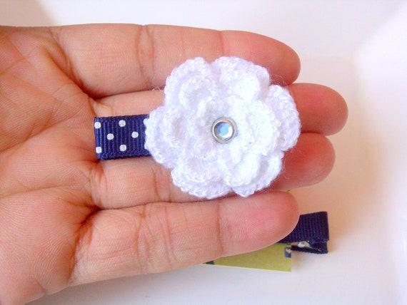 Blue Hair Clip, Flower hair clip, Baby girl hair accessories, Crochet hair clip, Baby girl hair accessories, Baby hair clip for infant girl