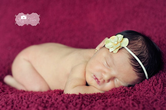 Yellow Flower Headband, Baby Girl Headbands, Christmas Headbands, Newborn Headband, Infant headband, Baby Girl Hair Accessories