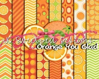 Orange You Glad Digital Scrapbooking Paper Kit