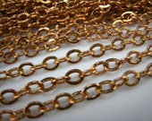 pure brass raw flat oval link  chain 4mm chain 12 feet