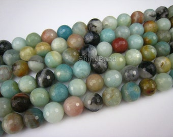 stone bead,Chinese amazonite,faceted round 12mm,15 inch