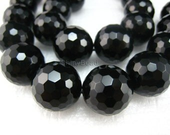 high quality Black Onyx faceted round 18mm 15 inch strand