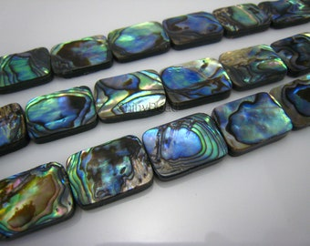 abalone shell flat rectangle bead 18x13mm 15 inch strand
