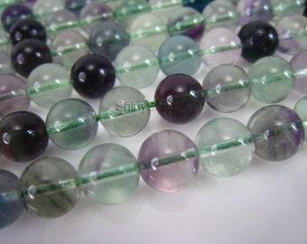 fluorite round bead 8mm 15 inch strand