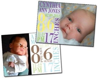 Printable Photo Subway Art Birth Announcement
