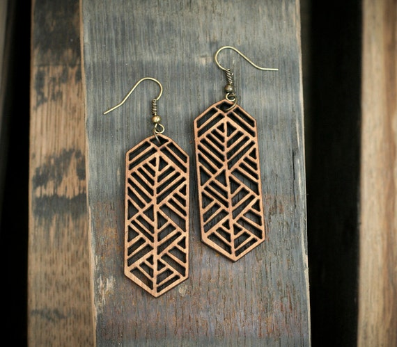 Items Similar To African Border Laser Cut Wood Earrings
